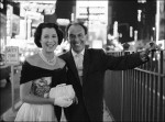 Celebrated photographer Alfred Eisenstaedt shot this portrait of Kitty Carlisle Hart with husband Moss Hart in Times Square, 1959.