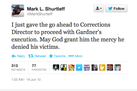 Mark Shurtleff uses Twitter to announce a Utah execution, by firing squad