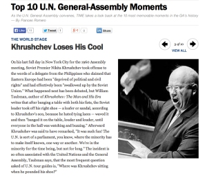 Screen Shot of Khrushchev Loses His Cool from Time website on January 6 2013